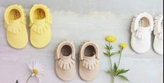 luxueuze en stijlvolle lederen babyschoentjes met de hand vervaardigd van Amy an Ivor