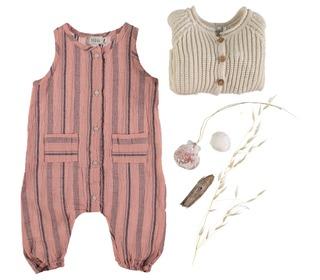 Zeus beach stripes jumpsuit old rose│Buho