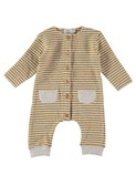 Bubu stripes buttoned jumpsuit Ecru