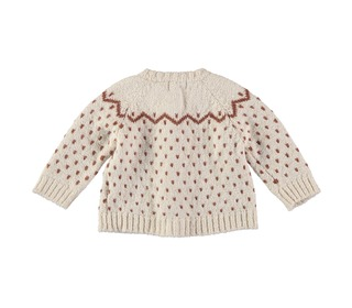Cookie jacquard knit cardigan Ecru│Buho