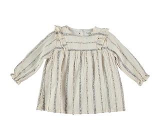 Amber baby lurex stripes dress ecru │ Buho