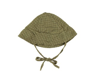 Coquille check baby hat olive | Buho