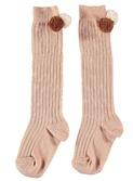 Pom pom rib baby socks Dust rose