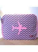 reiskoffer vliegtuig printed canvas-knit pink