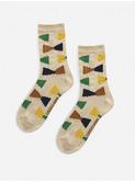 Ecru Geometric short socks