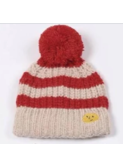 Stripped knitted beanie - red