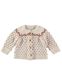 Cookie jacquard knit cardigan Ecru│Buho