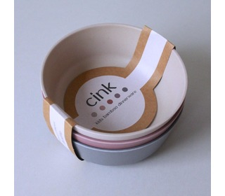 Bamboo bowl 3 pack, Fog/Beet/Ocean - Cink