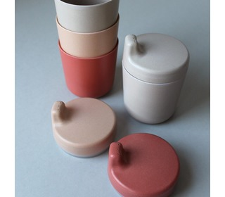 Bamboo sippy cup lid, single color Brick - Cink