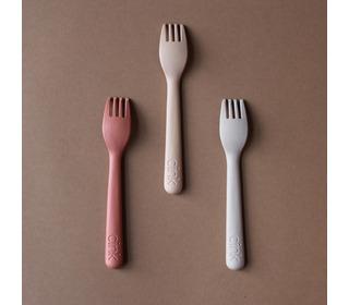 Bamboo toddler fork 3-pack - fog/rye/brick - Cink