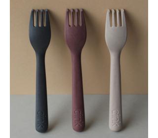 Bamboo toddler fork 3-pack - fog/beet/ocean - Cink