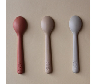 Bamboo toddler spoon 3-pack - fog/rye/brick - Cink