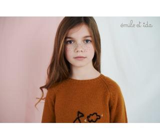 pull Maison handgeborduurd caramel | Emile et Ida