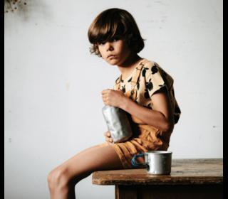 Tee Shirt Pommes - paille - Emile et Ida