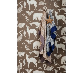Katy scott wallpaper - animal - toffee - Ferm Living