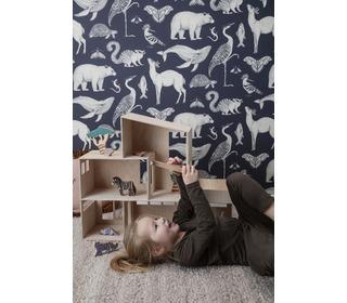 Katy scott wallpaper - animal - blue - Ferm Living