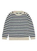 Boatneck blouse - ecru/indigo