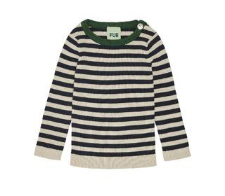 Baby Striped Rib Blouse - ecru/navy - FUB