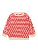 Zigzag sweater ecru/red