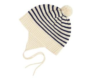 Baby striped hat ecru/navy - FUB