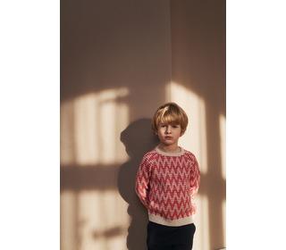 Zigzag sweater ecru/red│FUB