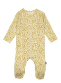 Patti organic footed NB suit yellow flower