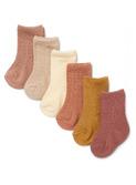 6 pack pointelle socks - sahara shades