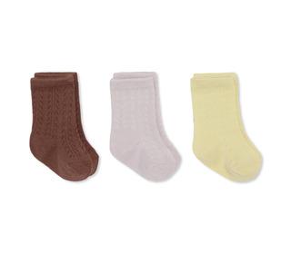 3 pack pointelle socks - lemon sorbet/lavendar mist/fig brown - Konges Sløjd