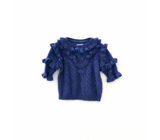 Ruffle sweater Dark blue | Longlivethequeen