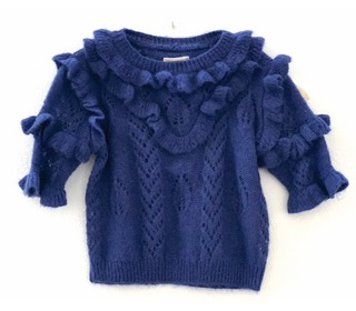 Ruffle sweater Dark blue - Longlivethequeen