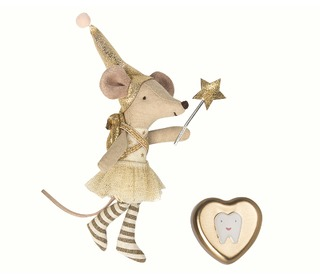 Mouse, Tooth Fairy in box, girl & metal heart  - Maileg