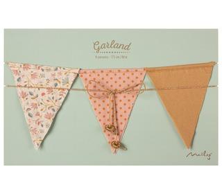 Garland, 9 flags - Dusty rose - Maileg
