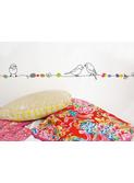 muursticker frise 'Perles et oiseaux'