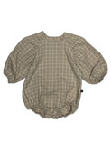 Neutral checked puff onesie - ecru
