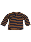 Mini wrap-over baby cardigan - amber/blue stripes