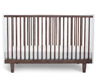 Rhea Crib White/Walnut - Oeuf NYC