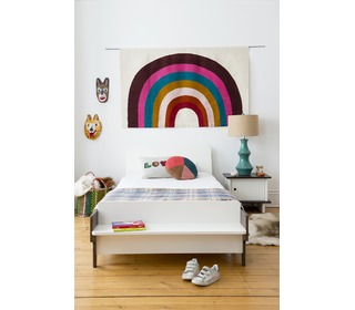 River Twin Bed White/Walnut - Oeuf NYC