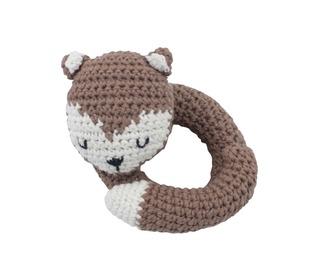 crochet rattle, sparky the fox, acorn brown - Sebra