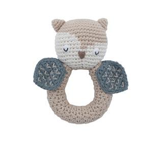 crochet rattle, blinky the owl, birchbark beige - Sebra