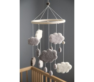 Felted baby mobile, clouds, warm grey - Sebra