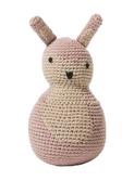 gebreide tuimelpop konijn, pastel rose