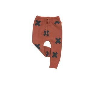 winterbroekje Logo pant knit Terracotta - Tinycottons