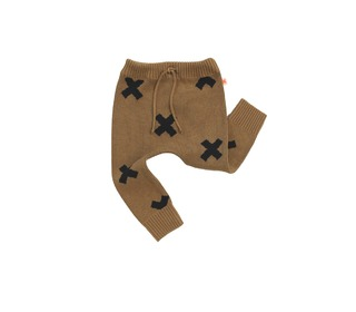 winterbroekje Logo pant knit Brown - Tinycottons